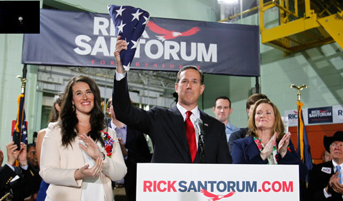 Rick Santorum formally declares his candidacy for the 2016 Republican presidential nomination [Credit: Reuters]. Inset, top left: FUCNA Political Director Scooter Lewicki.