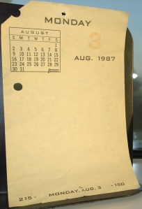 Calendar page - August 3, 1987